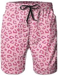 ピンクの豹柄 メンズ サーフパンツ 水陸両用 水着 海パン ビーチパンツ 短パン ショーツ ショートパンツ 大きいサイズ ハワイ風 アロハ 大人気 おしゃれ 通気 速乾