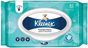 KLEENEX Flushable Fresh Wipes Lightly Fragranced, 0.3kg, Pack of 42 Wipes