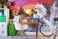 Bzbhart 3D壁紙赤空城ストリーム滝虹白い馬子供壁画の背景壁の壁画 壁紙-450cmx300cm