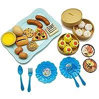 PovKeever おままごと キッチン 遊びセット ごっこ遊び 中華料理 西洋料理 知育玩具 子どもの誕生日プレゼント 入園お祝い お料理しましょう! (Blue)