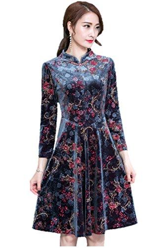 レディース ワンピース ドレス ビロード ベルベット チャイナ風 大人 花柄 エレガント ボヘミアン K13141 (XL)