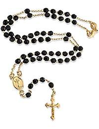 ブリングジュエリー ファセット黒オニキスカラークロス十字架ロザリオネックレス