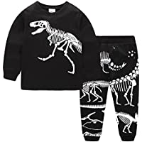 Dizoon Kids Boys Girls Pjs Long Sleeve Dinosaur Clothes Little Boys Pajamas Sleepwear Set Pyjamas 2 Piece 2-12 Years