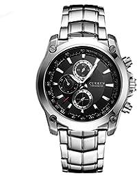 Molody 新しいCURREN腕時計ファッションメンズステンレススチールバンドアナログスポーツクォーツ腕時計ギフトボックス (ブラック)