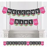 Bigドットの幸せのLet 's Go Glamping – Camp Glampベビーシャワーパーティーホオジロバナー – パーティーデコレーション – Welcome Baby