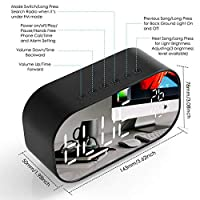 FMラジオLED目覚まし時計、ワイヤレスBluetooth、スピーカー、ミラーディスプレイ、USB音楽プレーヤー、オフィスホームワイヤレスクロックに適した ブラック