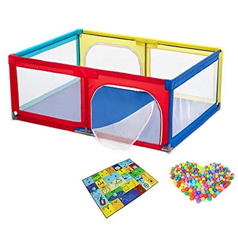 ベビーフェンス ポータブル赤ちゃんプレイステーションのおもちゃのテント幼児の遊び場安全家庭保護フェンスハウスプレイヤード (色 : Playpen+100 balls+crawling mat)