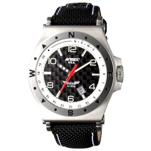 [アビレックス]AVIREX 腕時計 強化ナイロン3針カーボン&ホワイトメンズAX-018M-3