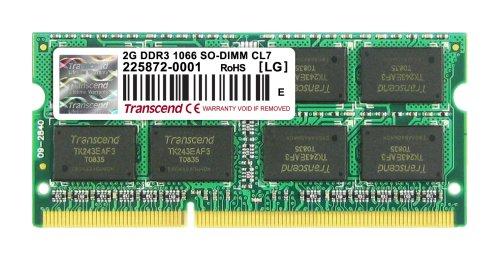 Transcend JetRam ノートPC用増設メモリ PC3-8500 DDR3 1066 2GB 永久保証 JM1066KSU-2G
