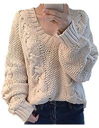 【ラララ】 セーター ニット Vネック トップス ケーブル ざっくり レディース オフショル 長袖