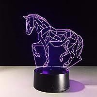 Dtcrzj Hi アクリル3Dステレオビジョン馬3D Ledランプ7色変更タッチスイッチ寝室のベッドサイド誕生日T用子供