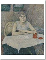 Barewalls Young Woman at a table, Poudre de Riz ' byロートレック用紙印刷壁アート 24in. x 18in.