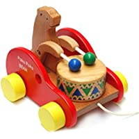 kingzhuo Wooden Pull AlongおもちゃWalk Along Bear Knock Theドラム木製プッシュand Pull Toy For 12ヶ月+赤ちゃん女の子または少年教育玩具for Kids
