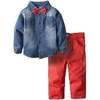 Big Elephant Boys' 2 Piece Cowboy Long Sleeve Jeans Outfit Denim Clothing Set H18
