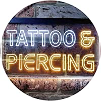 Tattoo Piercing Shop Illuminated Dual Color LED看板 ネオンプレート サイン 標識 白色 + 黄色 300 x 210mm st6s32-i0482-wy