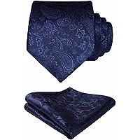 HISDERN Wedding Ties for Men Cravat Jacquard Luxury Floral Printed Tie + Handkerchief Elegant Men's Paidley Necktie & Pocket Square Set
