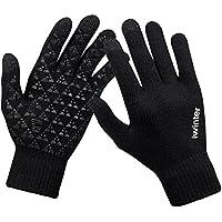 anqier Winter Knit Gloves Windproof Touchscreen Warm Hand Gloves for Men & Women(Black Men)