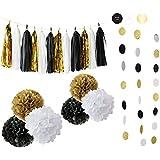 Happy New Year Party Decorations ブラック ホワイト ゴールド ティッシュペーパー ポンポン ペーパータッセルガーランド 素晴らしい装飾用 新年記念パーティー 誕生日デコレーション ブライダルシャワーデコレーション