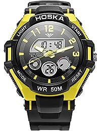 子供用腕時計 アナログ表示 キーズ ウォッチ アラーム ストップウォッチ 曜日 日付表示 男の子 女の子 兼用 アウトドア (イエロー)