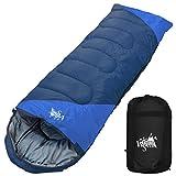 丸洗いのできる寝袋 封筒型 最低使用温度 -15℃ コンパクト収納袋付き シュラフ 寝袋 オールシーズン (ネイビー×ブルー)