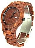 YFWOOD 木製腕時計 メンズ レディース 負担なし軽量腕時計 寒い冬に赤檀木の温もりが生じるウッドウォッチ