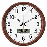 ADESSO (アデッソ) 掛け時計 温度表示 湿度表示 木目調 電波時計 RD-J403W