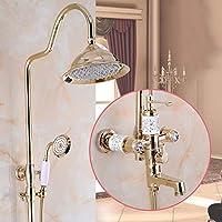 バスルームシャワーシステム - 豪華なバスルームレインシャワー蛇口マルチファンクションセットウォールマウント、調節可能なシャワー、最高のリラクゼーションとスパ、ローズゴールド用