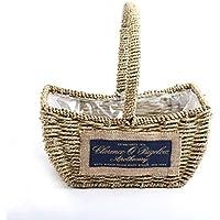 WTL かご?バスケット ストロー中空貯蔵バスケットの破片の収納バスケット (色 : グレー, サイズ さいず : 24*16*15cm)