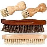 [FOOTSTEPS] 靴磨き ブラシ セット 馬毛ブラシ 豚毛 ペネトレイトブラシ 4本セット 収納麻袋付