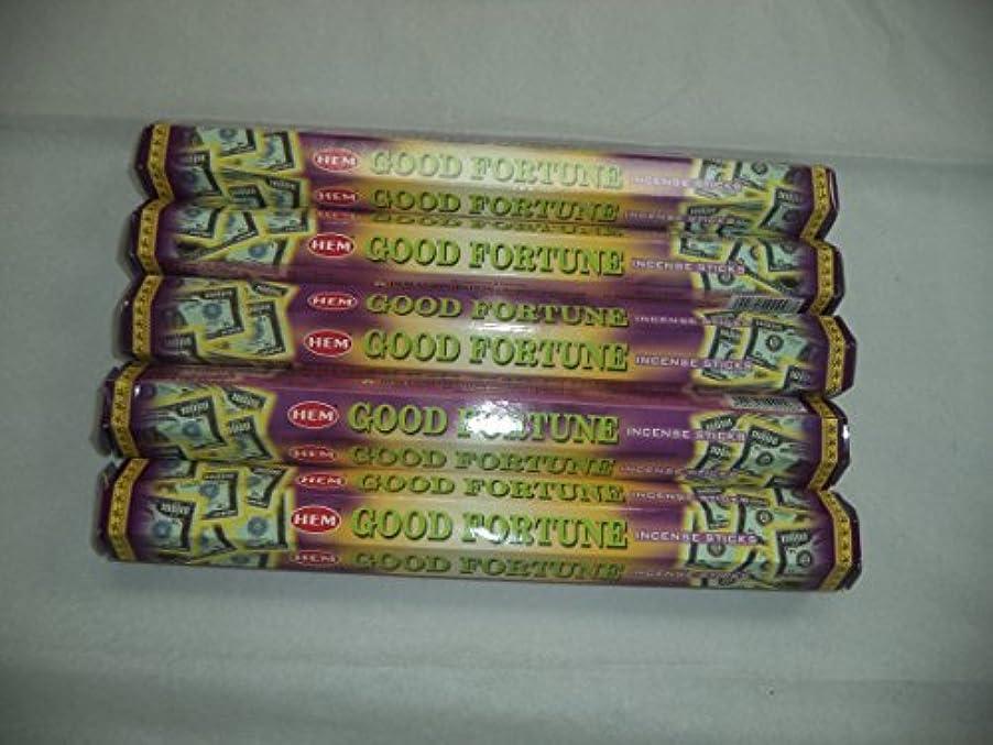 センター適度にジェスチャーHem Good Fortune 100 Incense Sticks (5 x 20スティックパック) by裾