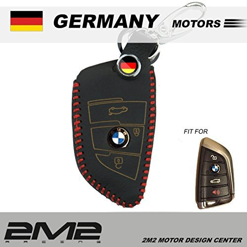 BM06-06-001 Leather Key fob Holder Case Chain Cover FIT For BMW X5 xDrive 35i 50i 25d 2017 BMW X1 X3 X4 X5 X6 [並行輸入品]