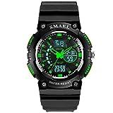 SMAEL腕時計子供用 キッズ時計 ウォッチデジタル表示 スポーツ日常防水 学生 男の子 女の子 子供のプレゼント (グリーン)