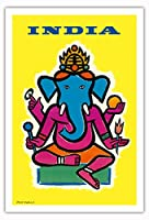 インド - ヒンドゥー教の神ガネーシャ - ビンテージな航空会社のポスター によって作成された ジャン・カルリュ c.1959 - アートポスター - 76cm x 112cm