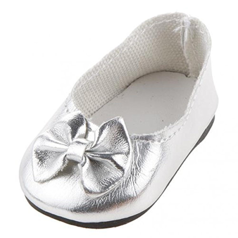 SONONIA 2足 18インチ 蝶の靴 古典的 アメリカンガール人形用 シューズ ギフト シルバー