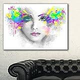 DesignArtグレーWoman withグリーン花Portraitデジタルアートキャンバス印刷、32インチx 16インチ、グリーン