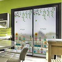 静的な執着 プライバシーガラスフィルム ガラス 窓用 フィルム, プライバシーガラスフィルム, 接着剤なし 遮光 家およびオフィスの装飾のため-D 44x100cm(17x39inch)