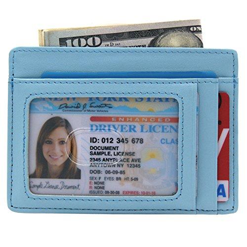 Kinzd® 小さい財布 カードポケット RFIDブロッキング カードと紙幣収納 (スカイブルー)