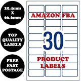 "[30 per Page] Amazon FBA Product Label 1""×2-5/8"" Self Adhesive White Address Labels Shipping Mailing Stickers Laser Inkjet Printer Labels 100 Sheets"