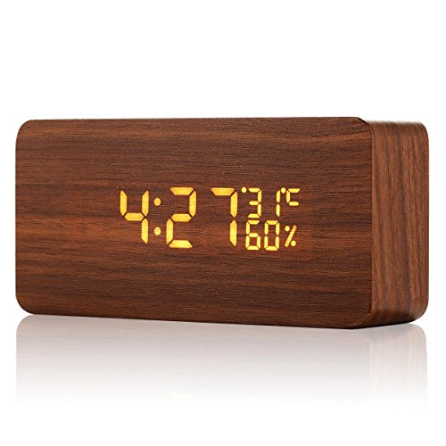 Acetek 目覚まし時計 置時計 デジタル 多機能 大音量 LED 木目 おしゃれ アラーム カレンダー 温度湿度 音声感知 卓上寝室台所用 プレゼント(ブラウン)
