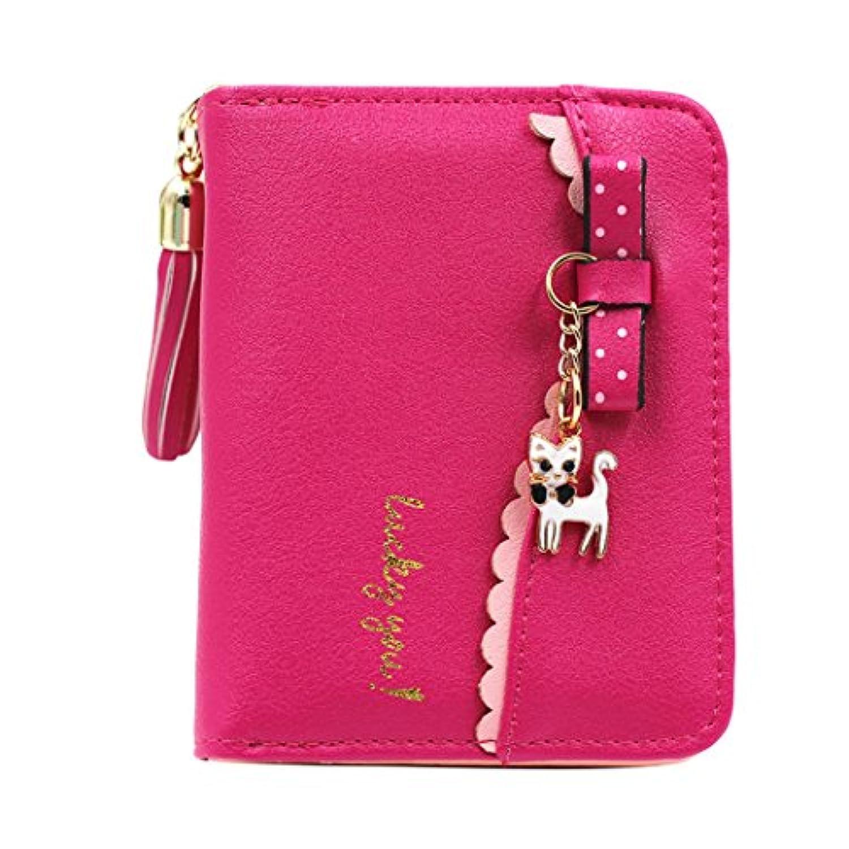 mioim 女性の財布 ウォレット ショート三つ折り財布 短財布 がま口 可愛い猫のペンダント リボン レース 大容量 小銭入れ コインケース ファッション かわいい プレゼント