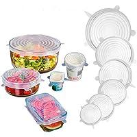 YFF食品グレードのシリコンボウルの蓋、ふた(6個)多機能シリコン新鮮なカバー シーリングキャップ 再利用可能 様々な形状の容器を市場に密封することができます (透明白)