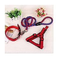犬用リード 引きひも,中型および大型犬のために適した頑丈で強い長いライン犬のリード鎖の牽引ロープ、,red,S