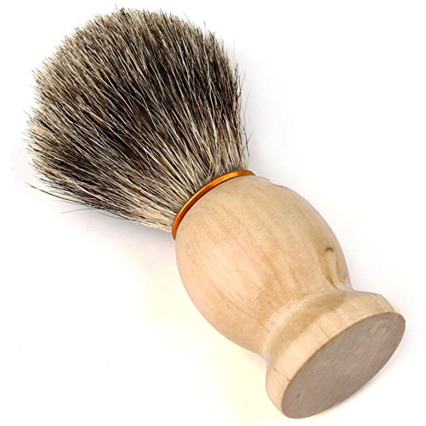 広げる学生登録するEasy Raku®ひげブラシ シェービングブラシ アナグマ毛 髭剃り 泡立ち メンズ シェービングブラシ(ブラシだけ)