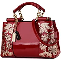 Nevenka Luxury Evening Bag Embroidered Handbag Patent Leather Tote Bag Top Handle Shoulder Bags for Women