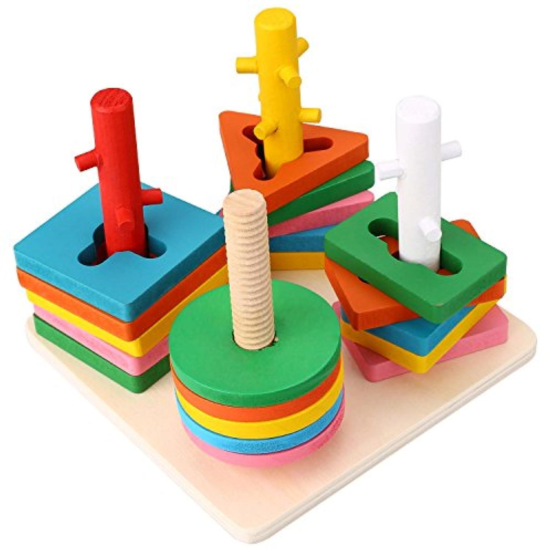 Peradix Shape Sorter木製カラフルなジオメトリ列形状ソートBuilding Blocks Set for KidsクリエイティブPresent