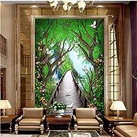 Xbwy 美しい夢のような木の板の壁紙橋エルク花つる3Dポーチ入り口背景壁壁画-250X175Cm