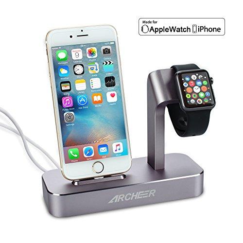 Apple認証【MFI】取得 ARCHEER 多機能充電スタンド・iWatch / iPhone / iPad / iPod充電スタンド・ 2in1充電スタンド ・充電クレードル 専用ライトニングケーブルを付く(グレー)