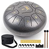 Steel Tongue Drum, AKLOT 10 inch 11 Notes Tank Drum C Key Percussion Steel Drum Kit w/Drum Mallets Note Stickers Finger Picks
