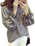Makalika ストライプ シャツ ブラウス 長袖 レディース トップス バルーン袖 袖口 リボン カジュアル ガーリー グレー ( グレー XL サイズ )