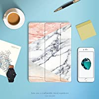 Batianda iPad Pro 10.5 2017 カバー, TPU + PU レザー 三つ折 タイプ 保護スマートケース 傷つけ防止 衝撃吸収 軽量 薄型 マグネットシェルカバー(大理石)